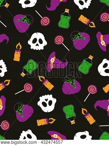 Halloween Colored Pattern, Vector Halloween Elements On Dark Background, Many Spooky Candy, Candle,