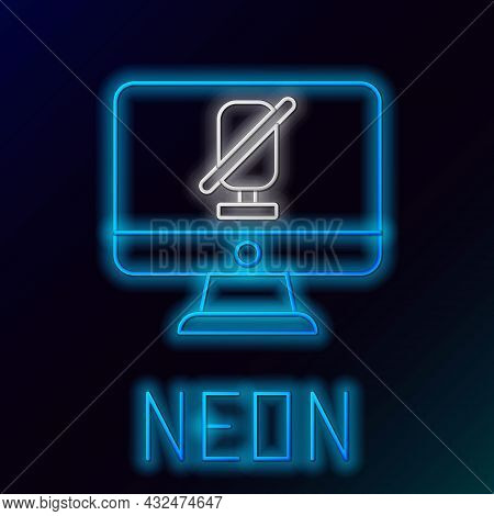 Glowing Neon Line Mute Microphone On Computer Icon Isolated On Black Background. Microphone Audio Mu