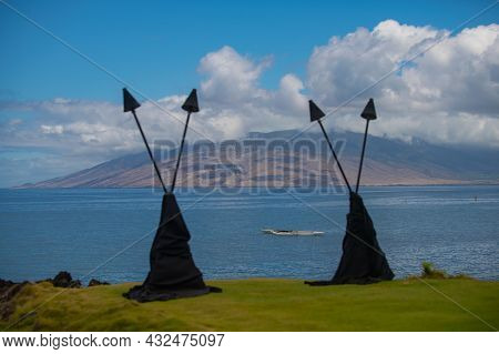 Shore Dream Tranquility. Scenic Landscape View Of Beach On The Hawaiian Island Of Maui. Hawaii Fire