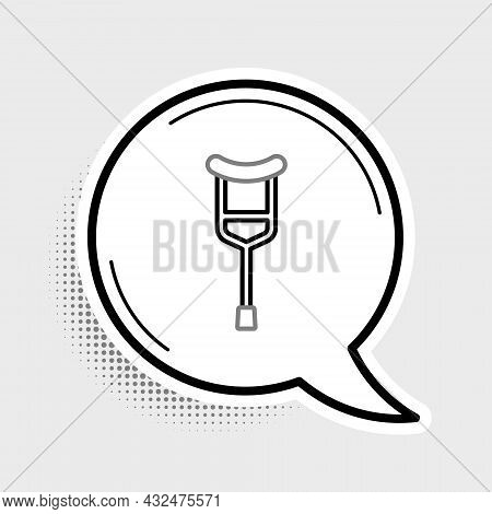 Line Crutch Or Crutches Icon Isolated On Grey Background. Equipment For Rehabilitation Of People Wit