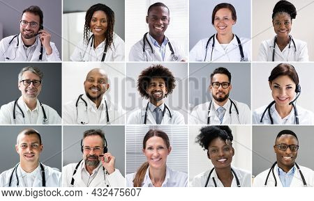 Doctors And Nurses Videoconference. Headshot Collage Photo