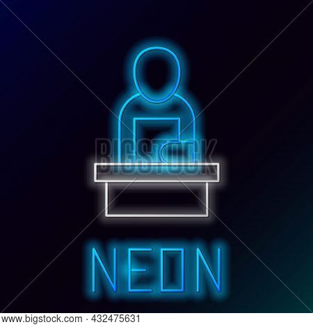 Glowing Neon Line Breaking News Icon Isolated On Black Background. News On Television. News Anchor B
