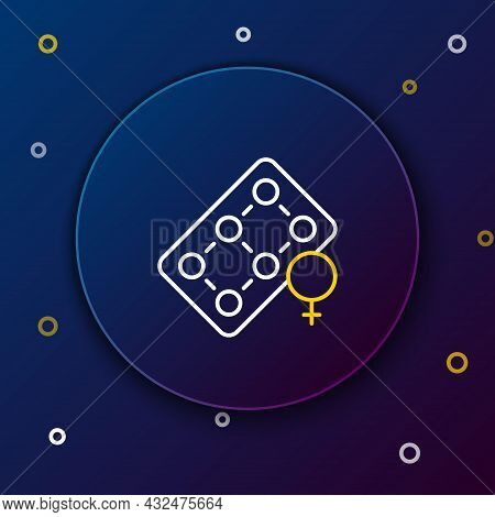 Line Packaging Of Birth Control Pills Icon Isolated On Blue Background. Contraceptive Pill. Colorful