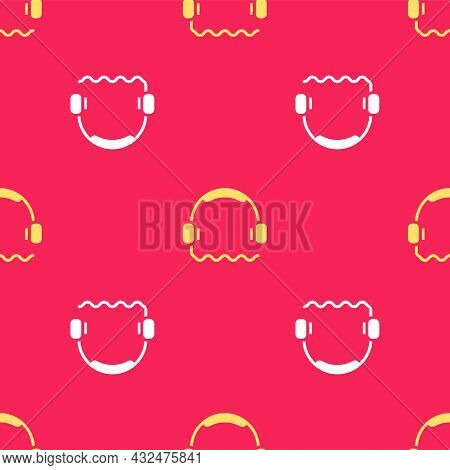 Yellow Headphones Icon Isolated Seamless Pattern On Red Background. Support Customer Service, Hotlin