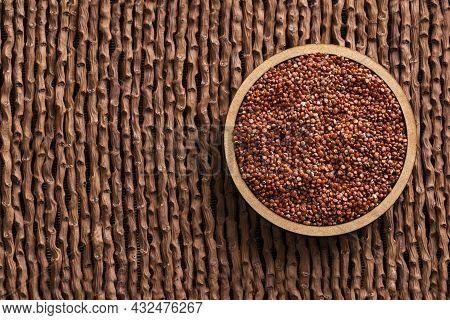 Organic Red Quinoa Seeds In The Bowl - Chenopodium Quinoa