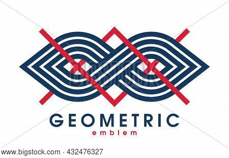 Abstract Geometric Infinity Shaped Vector Logo Isolated On White, Infinite Linear Graphic Design Mod