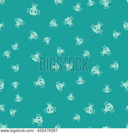 Green Gas Mask Icon Isolated Seamless Pattern On Green Background. Respirator Sign. Vector