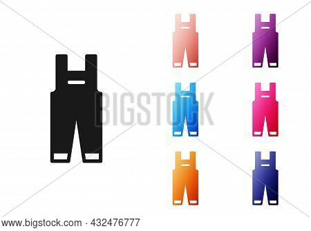 Black Work Overalls Icon Isolated On White Background. Set Icons Colorful. Vector