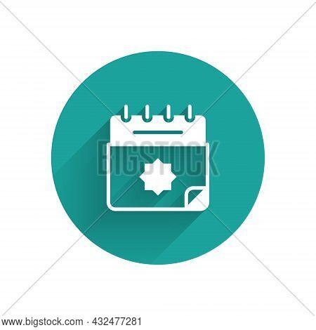 White Ramadan Calendar Icon Isolated With Long Shadow Background. Ramadan Kareem And Islamic Symbols