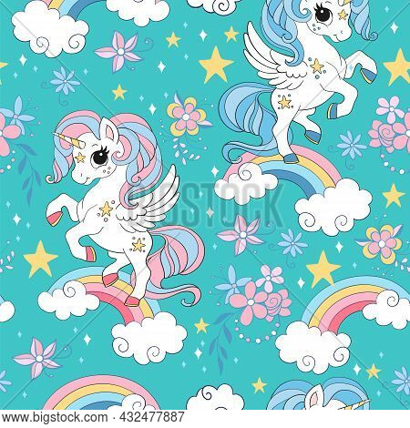 Seamless Pattern With Cute Unicorns, Clouds, Rainbow And Stars. Magic Background With Unicorns. Vect