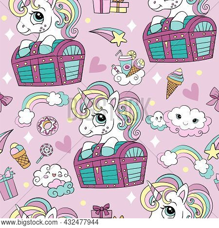 Seamless Pattern With Cute Unicorn And Chest, Clouds, Rainbow And Sweets. Magic Background With Unic