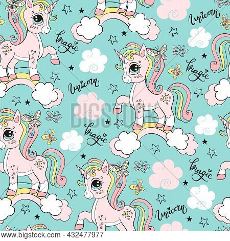 Seamless Pattern With Unicorns, Clouds, Rainbow And Stars. Magic Background With Unicorns. Vector Il
