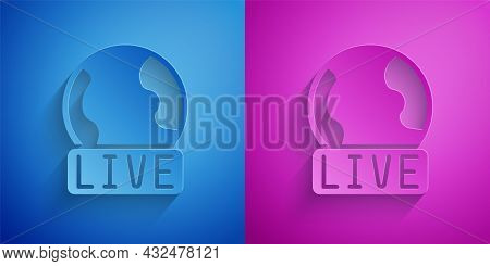 Paper Cut Live Report Icon Isolated On Blue And Purple Background. Live News, Hot News. Paper Art St