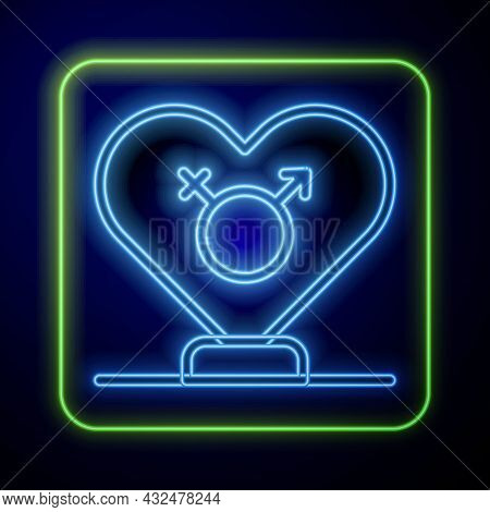 Glowing Neon Gender Icon Isolated On Blue Background. Symbols Of Men And Women. Sex Symbol. Vector