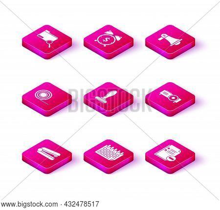 Set Office Stapler, Calendar, Scotch, Stamp, Document With Minus, Presentation, Movie, Film, Media P