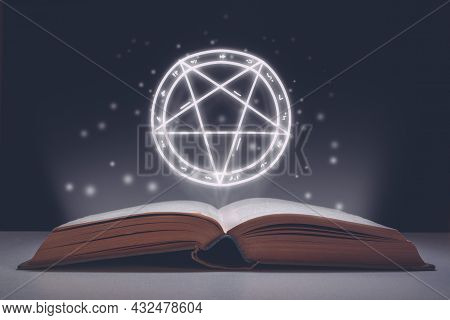 Spell Book Open With Projection Of Starry Pictogram As Symbol Of Evil. Halloween Holiday