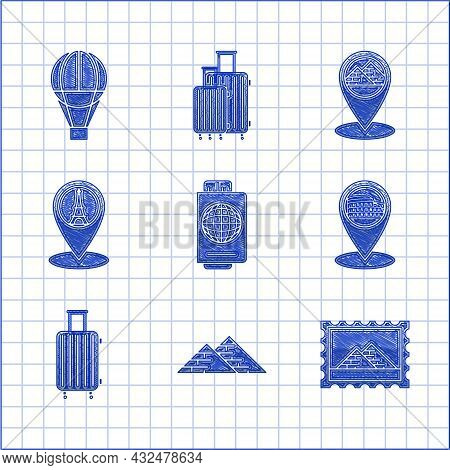 Set Passport With Ticket, Egypt Pyramids, Postal Stamp And, Map Pointer Coliseum In Rome, Italy, Sui