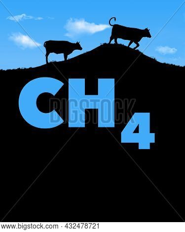 Two Cows Are Seen Silhouetted Against A Blue Sky With White Clouds That Look Like Cow Flatulence. Th