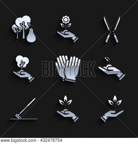 Set Garden Gloves, Plant In Hand Of Environmental Protection, Sprout, Rake Work, Tree, Gardening Han