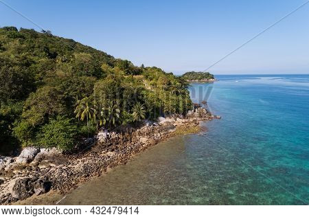 High Angle View Tropical Sea Seashore And Mountain Located In Phuket Thailand Aerial View Drone Top