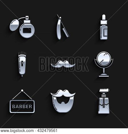 Set Mustache, And Beard, Cream Or Lotion Cosmetic Tube, Hand Mirror, Barbershop, Electrical Hair Cli