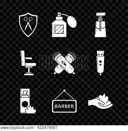 Set Scissors Hairdresser And Shield, Aftershave, Cream Lotion Cosmetic Tube, Shaving Gel Foam, Barbe
