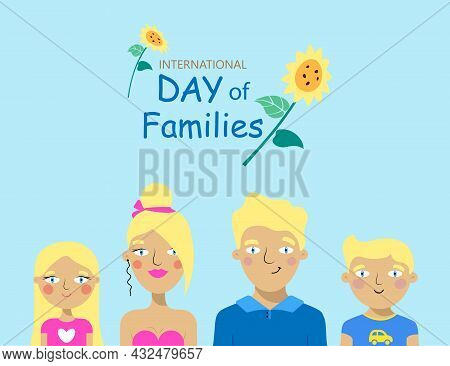 Family Card Featuring Blue Eyed Family Members With Blond Hair