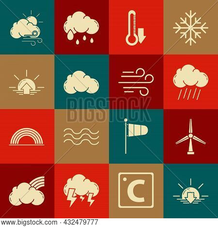 Set Sunset, Wind Turbine, Cloud With Rain, Thermometer, Sunrise, Windy Weather And Icon. Vector