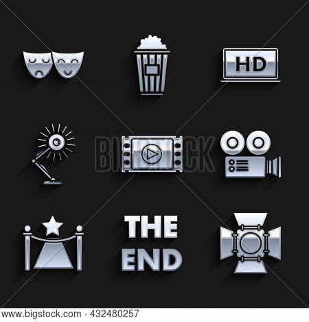 Set Play Video, Movie Spotlight, Cinema Camera, Carpet With Barriers Star, Table Lamp, Laptop Screen