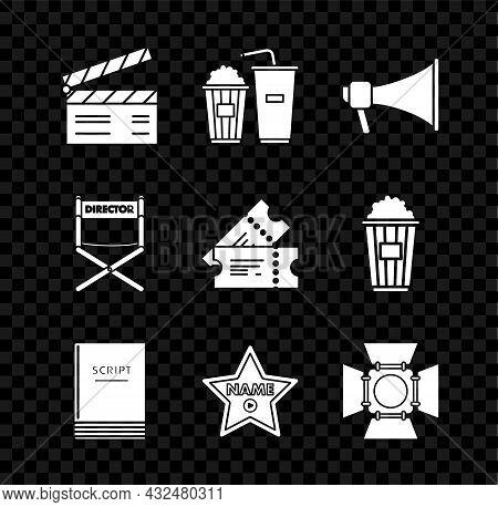 Set Movie Clapper, Popcorn And Soda Drink Glass, Megaphone, Scenario, Hollywood Walk Of Fame Star Ce