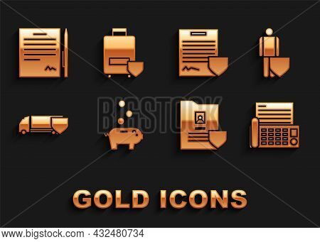 Set Piggy Bank With Coin, Life Insurance Shield, Fax Machine, Document, Delivery Cargo Truck, Contra