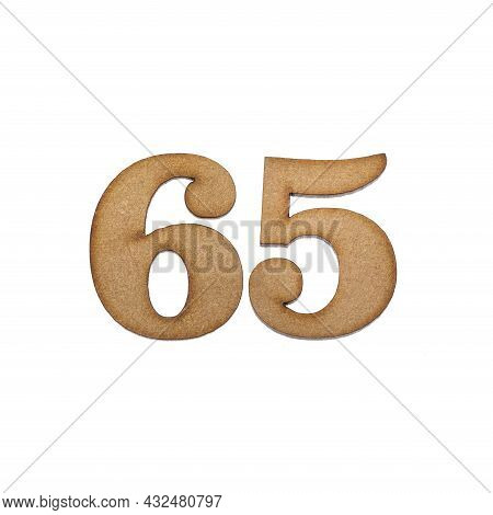 Number 65 In Wood, Isolated On White Background