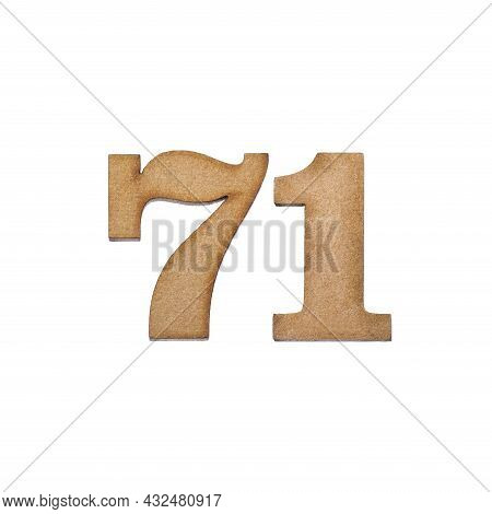 Number 71 In Wood, Isolated On White Background