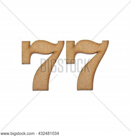 Number 77 In Wood, Isolated On White Background