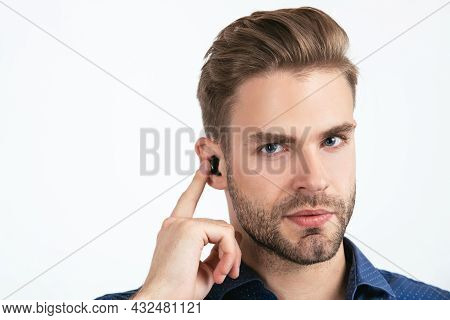 Bluetooth Headset Device Accessory. New Technology. Successful Unshaven Guy. Agile Business.