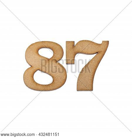 Number Eighty-seven, 87 - Piece Of Wood Isolated On White Background