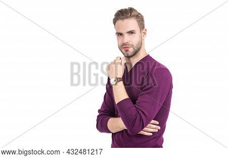 Sexy Guy With Stylish Hair Touch Unshaven Chin Wearing Casual Violet Pullover, Salon
