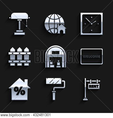 Set Warehouse, Paint Roller Brush, Hanging Sign With Text Rent, Doormat The Welcome, House Percant D