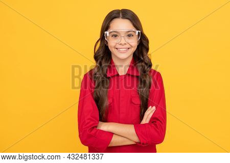 Nice Smile. Eye Protection. Smiling Kid Wear Protective Glasses. Happy Childhood.