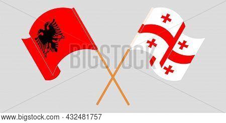 Crossed And Waving Flags Of Albania And Georgi