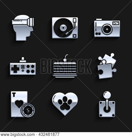 Set Cake, Heart With Animals Footprint, Joystick For Arcade Machine, Piece Of Puzzle, Casino Chip An