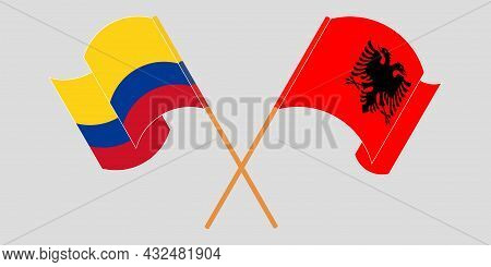 Crossed And Waving Flags Of Albania And Colombia