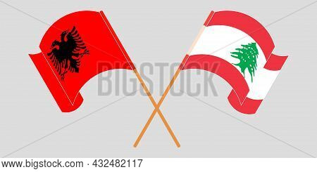 Crossed And Waving Flags Of Albania And Lebanon