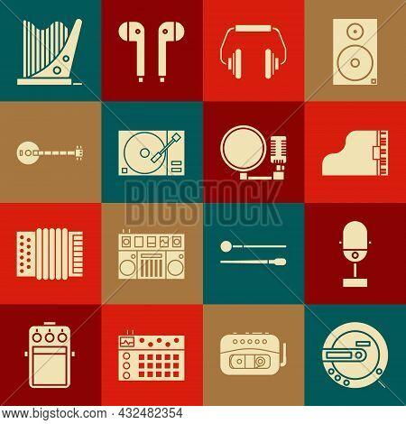 Set Music Cd Player, Microphone, Grand Piano, Headphones, Vinyl With Vinyl Disk, Banjo, Harp And Ico