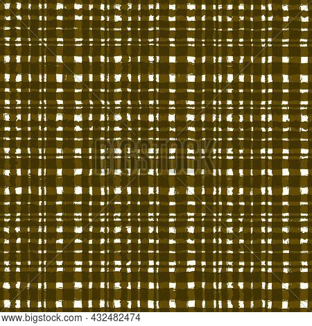 Green Brown Olive Checkered Old Vintage Background With Blur, Gradient And Grunge Texture. Classic C