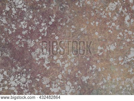 Beige Brown Gray Vintage Background With Spots, Splashes And Dots. Watercolor Texture With Blur And