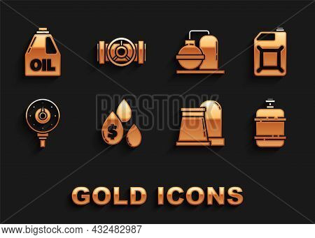 Set Oil Drop With Dollar Symbol, Canister For Gasoline, Propane Tank, And Industrial Factory Buildin