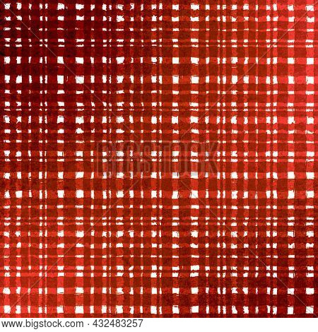 Orange Brown Red Checkered Old Vintage Background With Blur, Gradient And Grunge Texture. Classic Ch