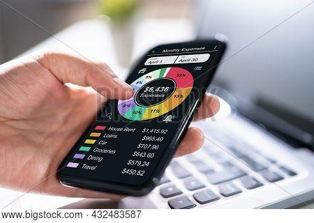 Budget Planning Fintech App. Money Tracker On Phone