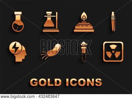 Set Bacteria, Tweezers, Radioactive, Test Tube And Flask Chemical, Head Electric Symbol, Alcohol Or